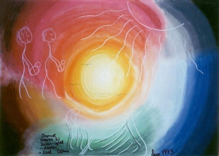 Dåben: Barnet bæres til Solen - lyset - døden = livet. Bilelder lavet af Lise Seidelin
